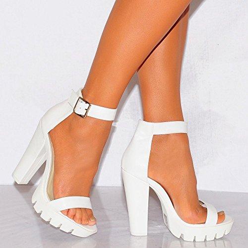 Womens Dames Blanches Cramponnées Chaussures De Hauts Talons Plateformes été Strappy Sandals