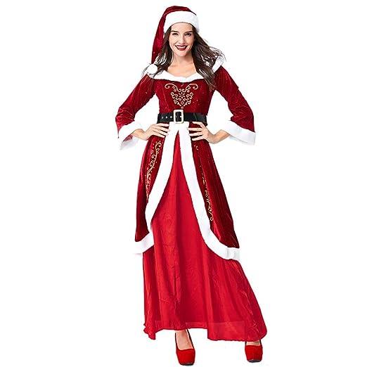 QQWE Vestido De Navidad De Las Mujeres Traje De Papá Noel Falda ...