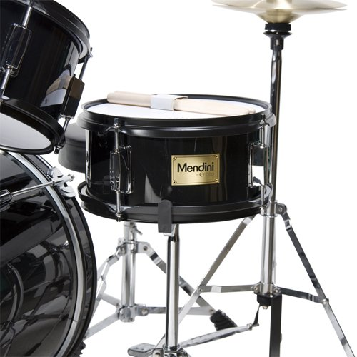 Mendini by Cecilio 16 inch 5-Piece Complete Kids / Junior Drum Set with Adjustable Throne, Cymbal, Pedal & Drumsticks, Metallic Black, MJDS-5-BK by Mendini (Image #4)