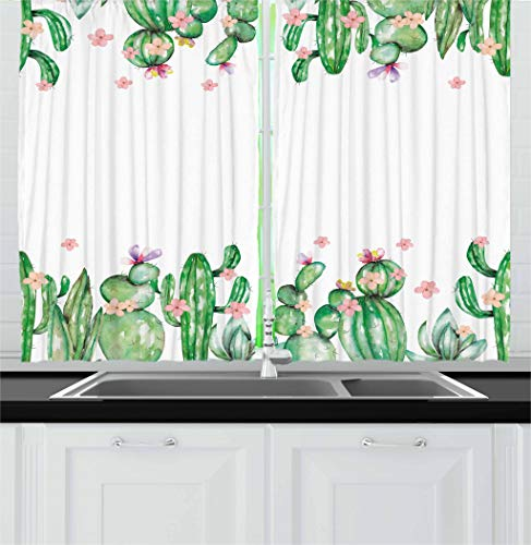 Ambesonne Cactus Decor Kitchen Curtains, Mexico Style Romantic Tender Blossoms and Barren Heath Vegetation, Window Drapes 2 Panel Set for Kitchen Cafe, 55 W X 39 L Inches, Green Coral Lavender