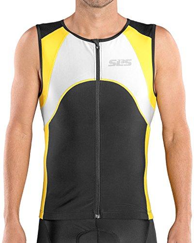 SLS3 Triathlon Men`s FX Tri Top | 3 Pockets | Full Zipper | Jersey | Singlet | Tank | German Designed (Black/Yellow, L)