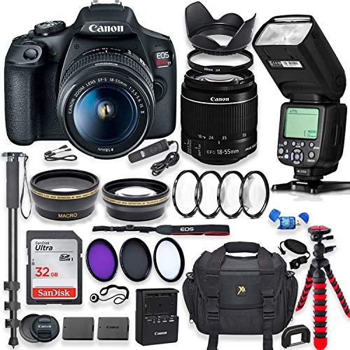 Canon EOS Rebel T7 DSLR Camera with 18-55mm is Lens Bundle + Speedlight TTL Flash + 32GB Memory + Filters + Monopod + Spider Tripod + Professional Bundle