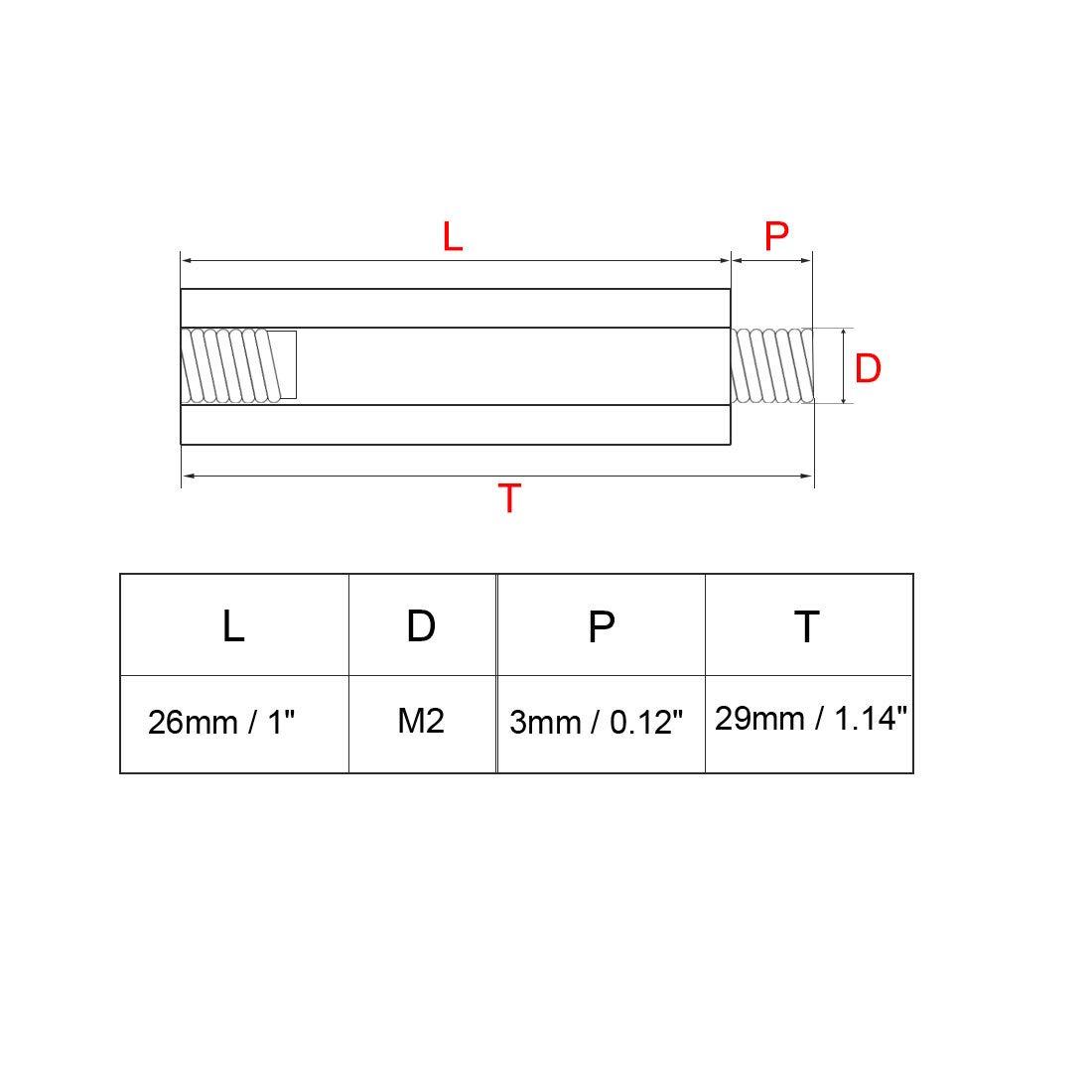 sourcing map Espaciador separador tornillo en forma redonda Pilar PCB con rosca macho de material de lat/ón de M2 18+3mm 50 piezas