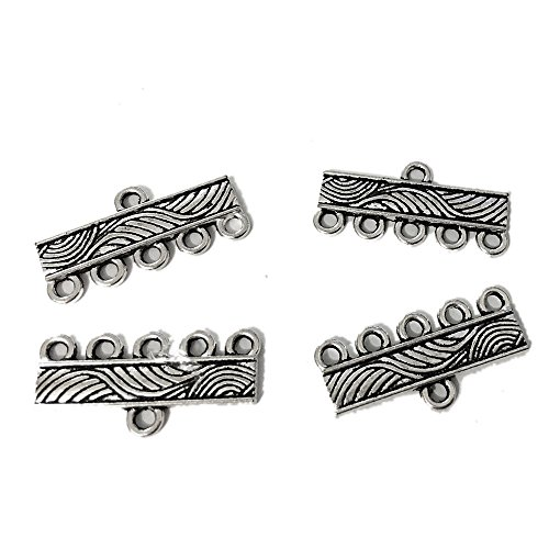 20 pcs Statement Necklace Connector Toggle Clasps Jewelry Findings Accessories Multi Strand Layer Buckle Pendant Chandelier Drop Earrings Chains Tags Charms (21 mm 5 hole Antique silver)