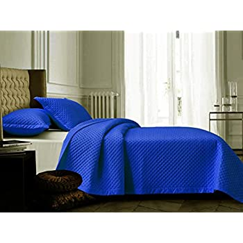 Diamond Matelasse 3-Piece Quilt Set 100% COTTON Royal Blue Reversible Bedspread Coverlet FULL / QUEEN SIZE all Seasons Bed Cover