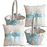 Roman Store Ivory Ring Bearer Pillow and Basket Set   Lace Collection   Flower Girl & Welcome Basket for Guest   Handmade Wedding Baskets & Pillows (Sky Blue)