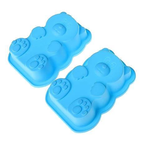 sumaju Kids niños oso de silicona molde de horno, antiadherente para hornear moldes de chocolate