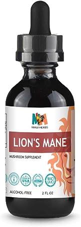 Lion's Mane Tincture Alcohol-Free Liquid Extract, Organic Lion's Mane Mushroom (Hericium erinaceus)