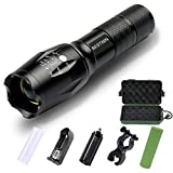 Brightest LED Tactical Flashlight, BESTWIN Zoomable Focus 5 Modes Military Grade Tac Light, high powered Handheld Torch