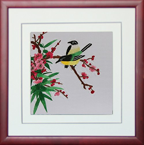 Asian Wall Art,Handmade Embroidery Framed,Birds Playing in the Red Flowers Painting