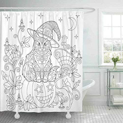 Ladble Waterproof Shower Curtain Curtains Halloween Coloring Page Cat in Hat Pumpkin Spider Lanterns Candles Moon and Stars Freehand Sketch Drawing 72