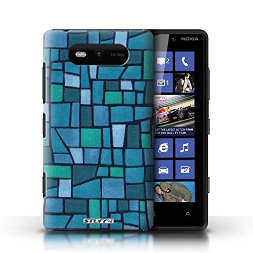 Etui / Coque pour Nokia Lumia 820 / Bleu/Turquoise conception / Collection de Carrelage Mosaïque