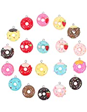 EXCEART 20pcs Candy Gummy Charms Doughnut Sweet Candy Donut Pendant Charms Polymer Clay Lollipop Shape Charm for Earring Bracelet DIY Jewelry