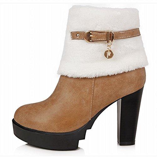 Carolbar Womens Zipper Buckle Fashion Warm Elegance Charm High Heel Snow Dress Boots Light Brown 6XBz3dhk