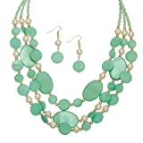 Turquoise Multi Row Shell and Pearl Necklace and Earring Set