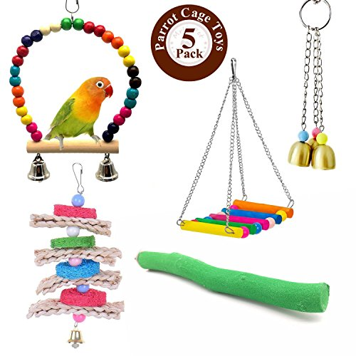 Wooden Bird Swing (Mrlipet Bird Swing Toys Colorful Wood Beads Bells Wooden Hammock Hanging Perch Budgie Lovebirds Conures Small Parakeet Cages Decorative Accessories (Parrot Cage Toys Set))