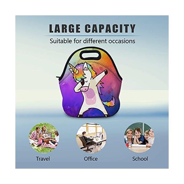 AOTIGO Dab Unicorn Rainbow Lunch Bag Insulated Neoprene Lunch Box Waterproof Tote Bag with Zipper for Kids, Boys, Girls, Women and Men 4