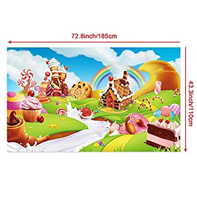 Donut Candy Birthday Party Backdrop Banner, Large Fabric Sweet Donut Candy Backdrop for Candyland Decoration, Sweet Cartoon Landscape Baby Shower Background Photo Props,72.8 x 43.3 inch: Toys & Games