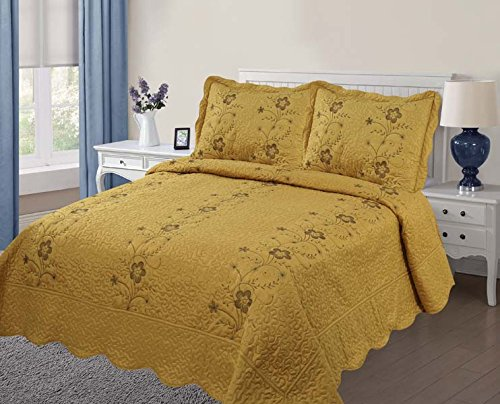 Golden Linens Over Size 3 pieces Solid Color Embroidery Flor