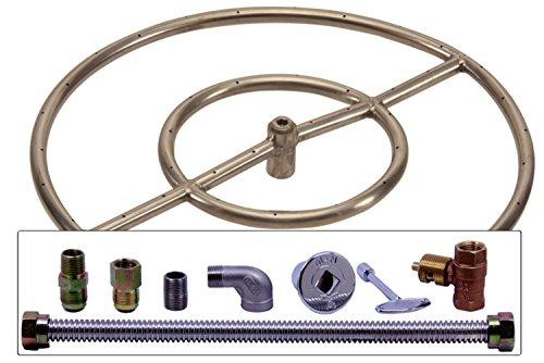Spotix HPC Match Lit Fire Pit Burner Kit, Round, 18-Inch Burner, Natural Gas, Polished Chrome by Spotix