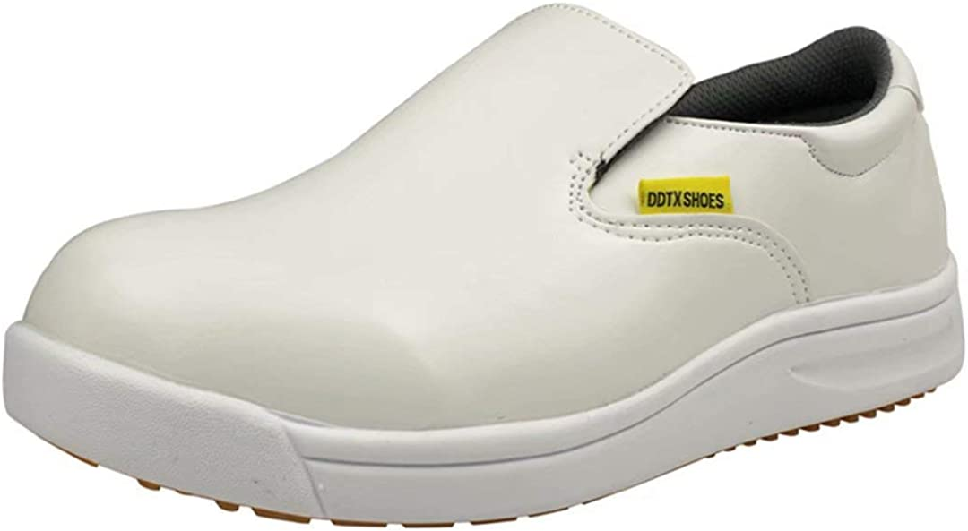 DDTX Work Kitchen Chef Shoes Unisex SRC Anti-Slip Oil and Water Resistant Anti Acid and Alkali Lightweight White/&Black 3.5-12UK
