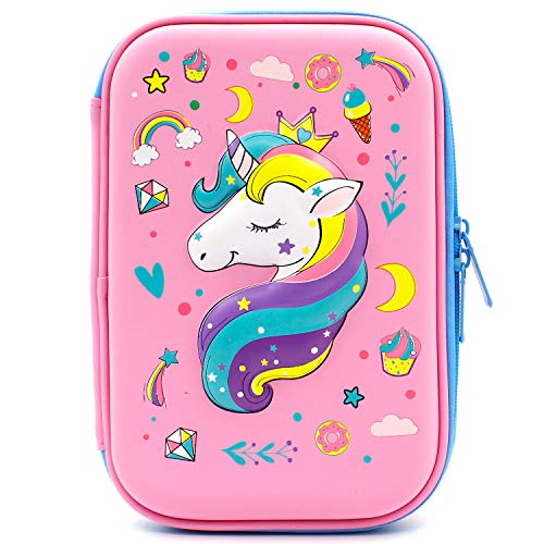 Crown Unicorn Gifts for Girls - Cute Big Size Hardtop Pencil Case with Compartment - Kids School Supply Organizer Stationery Box Zipper Pouch (Light Pink) ()