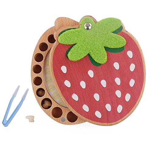 Zentto Baby Wooden Tooth Fairy Box Child Kids Tooth Keepsake Holder Organizer Personalized Deciduous Souvenir Memory Teeth Box for Boys and Girls(Strawberry)