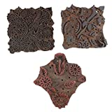 IndianShelf Handmade Set of 3 Piece Brown Wooden Canvas Paper Printing Stamp Textile Fabric Block