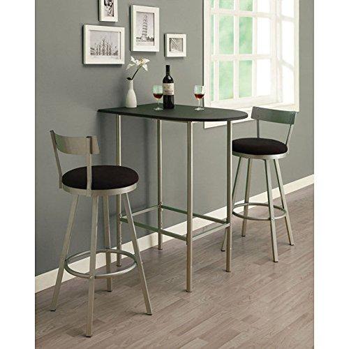 Metro Shop Black/ Silver Metal Space-saver Bar Table