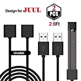 JDiction JUUL USB Charger Magnetic Charger USB Cable Fast Charging 2 Packs (2.6 Ft Long Each)