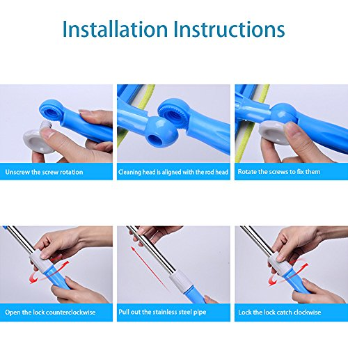 FRMARCH Professional 3-in-1 Window Squeegee -Microfiber Extendable Window Scrubber Washer Cleaner Washing Equipment Kit Extension Pole Window Cleaning Tools for High Window, Car or Shower by FRMARCH (Image #4)