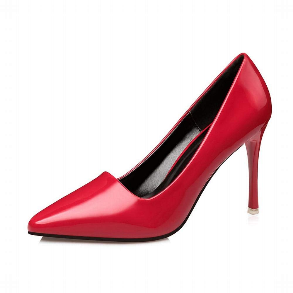 Yajiemei Frauen Lackleder Spitze Schuhe sexy dünne professionelle hochhackige Schuhe (Farbe   rot, Größe   36)