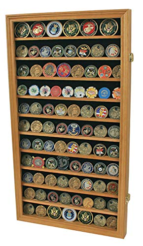 Large Military Challenge Coin Display Case Cabinet Rack Holder, Poker Chip, Geo Coin Display Cabinet (Oak -