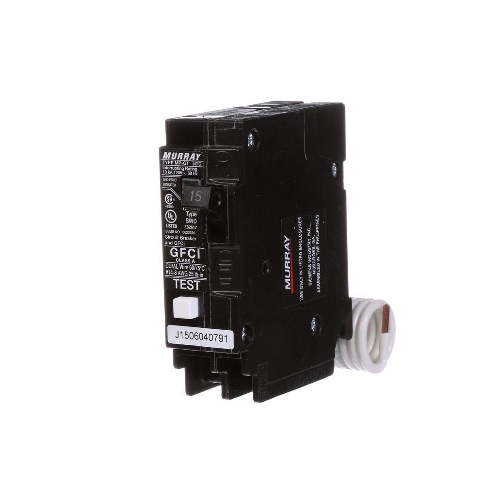 Murray 15 Amp Single Pole Type MP-GT2 GFCI Circuit Breaker