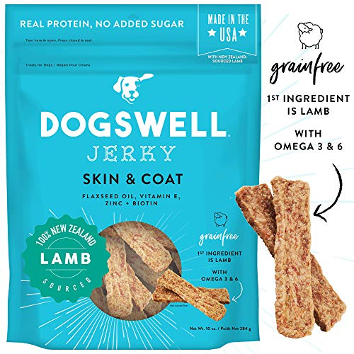 DOGSWELL Skin & Coat 100% Meaty Dog Treats Biotin & Zinc, Grain Free & Made in USA, Lamb Jerky 10 oz