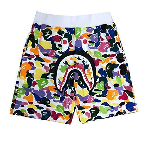 QingShuiYuan Athletic Pants Shark Pattern Camouflage Stitching Shorts Men Ape Bape Drawstring Sports Shorts