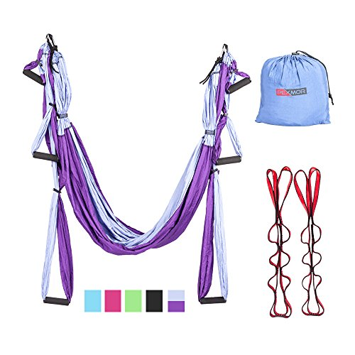 Pexmor Aerial Yoga Swing Sling- Ultra Strong Antigravity Yoga Hammock Kit Set Trapeze for Air Yoga Inversion Exercises, Great Health Benefits/Back Pain Relief-2 Extensions Straps Included