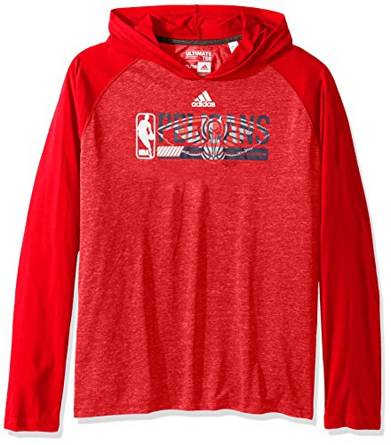 (adidas NBA New Orleans Pelicans Adult Men Fast Break Climate Ultimate L/S Hood, Large, Red)