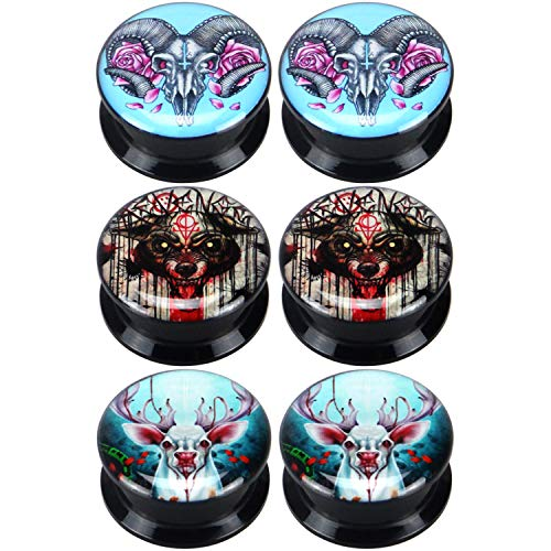 Yunsion Bamphat Bloody Bear Deer Moose Ear Gauge Plugs Black Acrylic Screw Fit Ear Plug Flesh Tunnel Body Piercing Jewelry 3 Pairs Size 1 inch 25mm