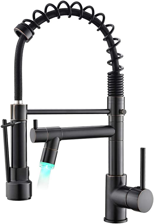 Kitchen Faucets with Pull Down Sprayer,Commercial Single Handle Oil Rubbed  Bronze Kitchen Sink Faucet with LED Light