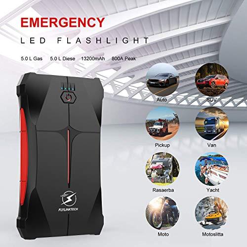 Flylinktech Car Jump Starter 800A Peak 12V (up to 5.0L Gas Or 4.0L Diesel Engine), 13200mAh Portable Power Pack Battery Booster with Smart Safe Jumper Cable, LED Flashlight ,EC5 Car Cigarette Lighter
