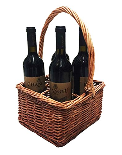 LUXEHOME Willow Wicker Wine Basket Holder 4-Section Bottle Carrier (Champagne And Chocolate Gift Delivery)