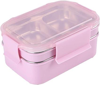 HUAFA Fiambrera, Lunch Box, Contenedores de Alimentos, 1300ml Fiambrera Acero Inoxidable, Contenedor para Niños o Adultos (Rosa)