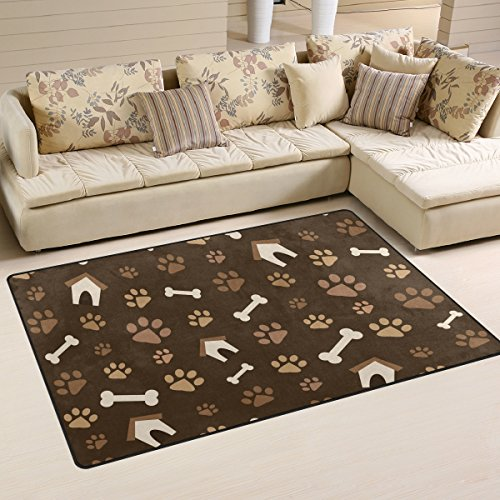 Sunlome Cat Dog Paws Footprints and Bones Brown Pattern Area Rug Rugs Non-Slip Indoor Outdoor Floor Mat Doormats for Home Decor 31 x 20 inches (Rug Paw Print)