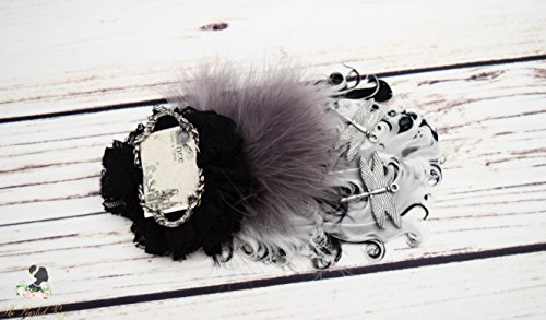 Handcrafted Fairytale Steampunk Hair Clip - Black White Grey Silver - Fancy Feather Bow - Dragonfly Hair Accessory - Story Book Wedding Hair ()