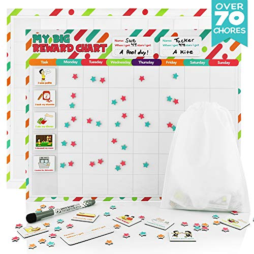 Fat Zebra Designs Reward Chore Chart for Kids - 70 Chores | Magnetic Board with Dry Erase Marker | Track Weekly Behavior, Responsibilities, Allowance | Supports 3 Children