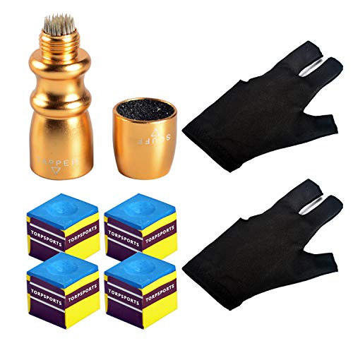 - TORPSPORTS Billiard/Snooker/Pool Cue Accessory:Tip Pick 3 in one Tool,3 Fingers Gloves 2pcs,Chalk 4pcs