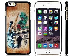 "E-Crazy® Estatua de la Libertad y 3D Arco del Triunfo Patrón caja de plástico de 5.5 ""iPhone 6 Plus"
