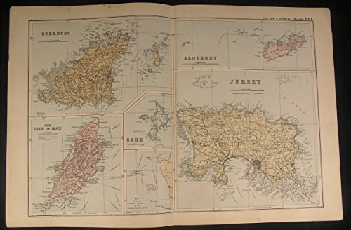 Isle of Man Jersey Alderney Guernsey Britain c.1890 antique color lithograph map - Map Jersey Guernsey