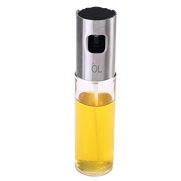 Aceitera con boquilla, Cuitan pulverizador Aceite de Oliva Cristal Botella pulverizador Vinagre para pasta Ensalada